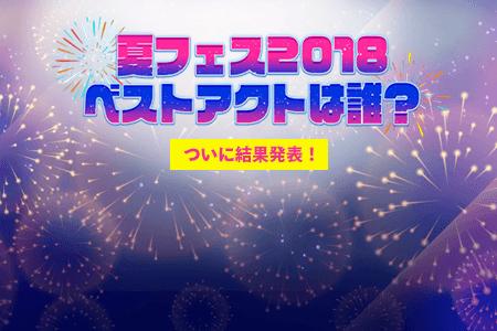 夏フェスベストアクト2018 結果発表!